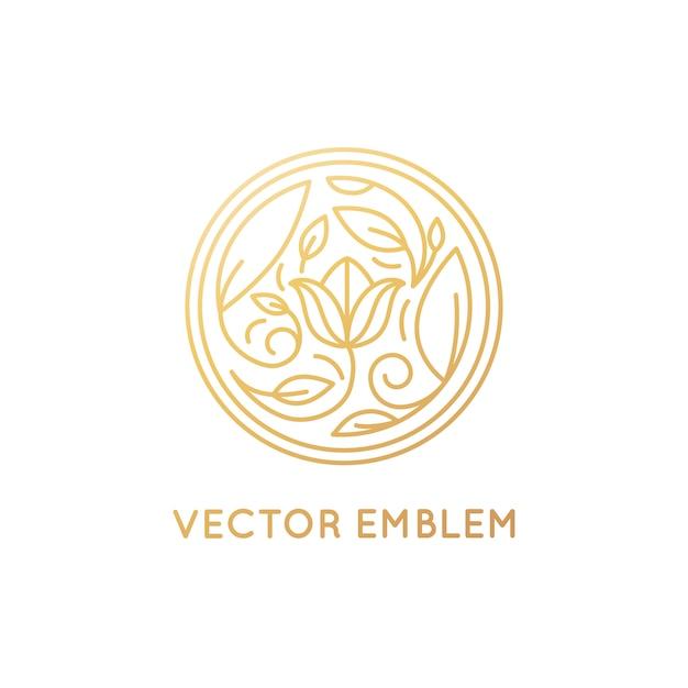 Vector simples e elegante logo design emblema no elegante estilo linear Vetor Premium