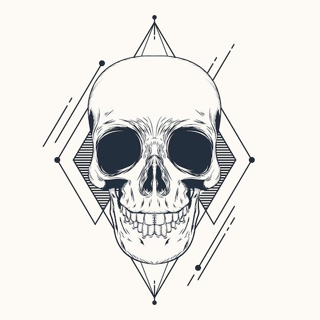 Vector skulls hand drawn ilustrações geométricas Vetor Premium
