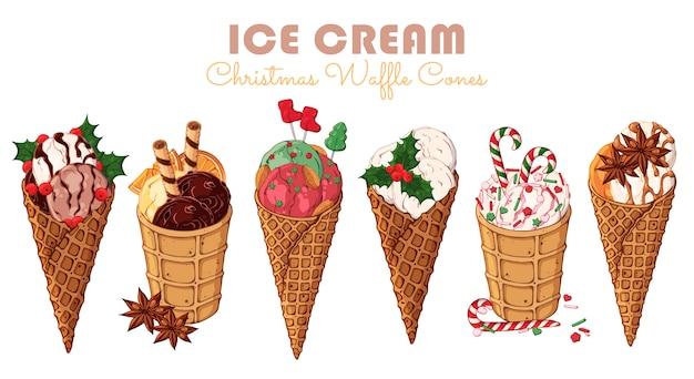 Vector sorvete de natal em cones de waffle. Vetor Premium