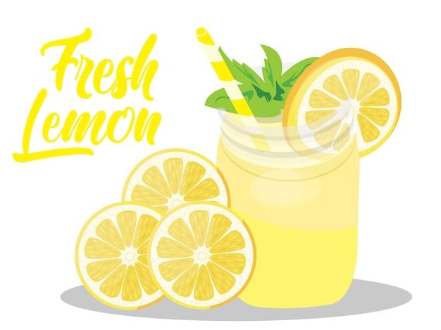 Vector suco de limão fresco isolado no branco Vetor Premium