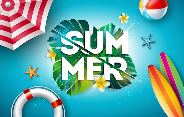 Vector summer holiday ilustração com flor e folhas de palmeira tropical Vetor Premium