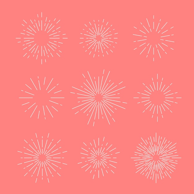 Vector sunburst definido em rosa Vetor grátis