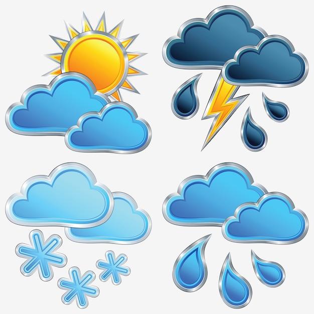 Vector um ícone do tempo: sol; lua; estrela; nuvem; chuva; tempestade; relâmpago e neve Vetor Premium