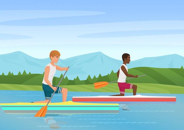 Vector uma ilustração de dois desportistas que enfileiram e que competem no rio. Vetor Premium