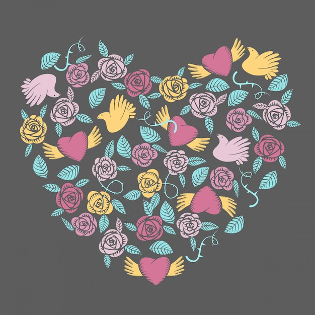 Vector valentine em forma de coração elementos Vetor Premium