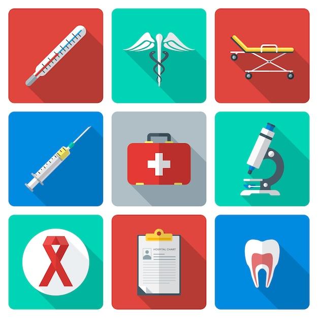 Vector vários ícones médicos de estilo simples de cor com sombra Vetor Premium