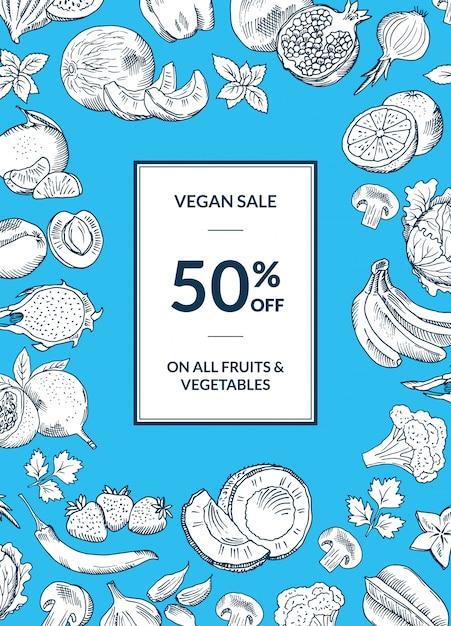 Vector vegano loja venda vertical fundo Vetor Premium