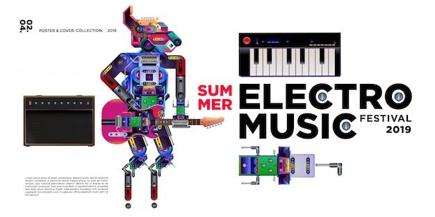 Vector verão electro music festival banner modelo de design Vetor Premium