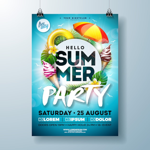 Vector verão festa flyer design com guarda-sol e sorvete Vetor grátis