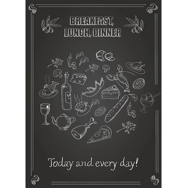 Vector vintage café da manhã, almoço e jantar poster com comida Vetor Premium