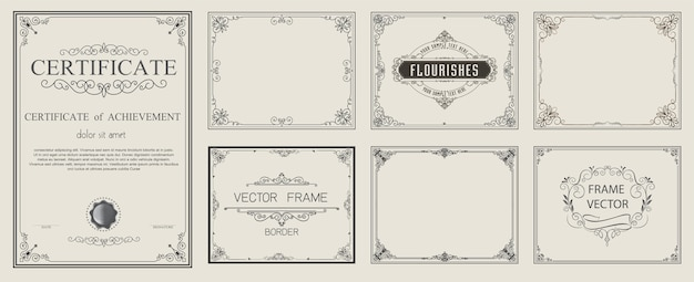 Vector vintage dourado definir elementos florais Vetor Premium