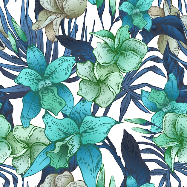 Vector vintage floral tropical sem costura padrão Vetor Premium
