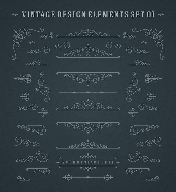 Vector vintage swirls ornamentos decorações design elements Vetor Premium