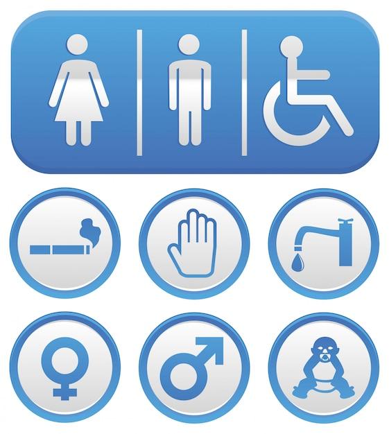 Vector wc sinal - abstrato na cor azul Vetor Premium