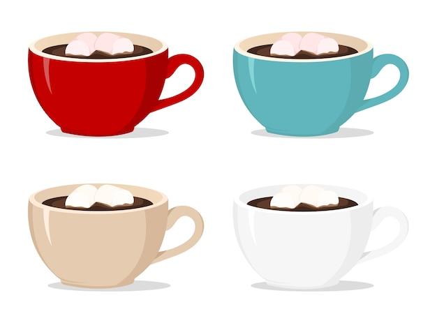 Vector xícaras de café com marshmallows em branco Vetor Premium