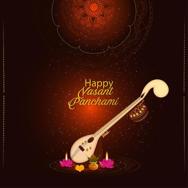 Veena criativa para a feliz celebração do festival indiano vasant panchami Vetor Premium