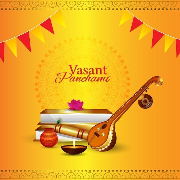 Veena e livros para o fundo da feliz celebração de vasant panchami Vetor Premium