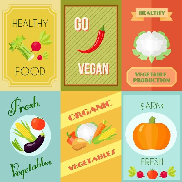 Vegan comida saudável e cartaz vegetariano mini conjunto com legumes frescos fazenda isolado ilustração vetorial Vetor grátis