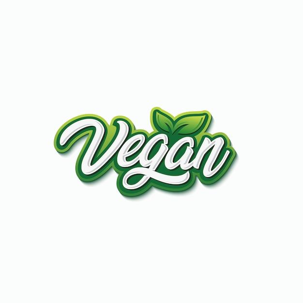 Vegan tipografia logo design premium vector Vetor Premium