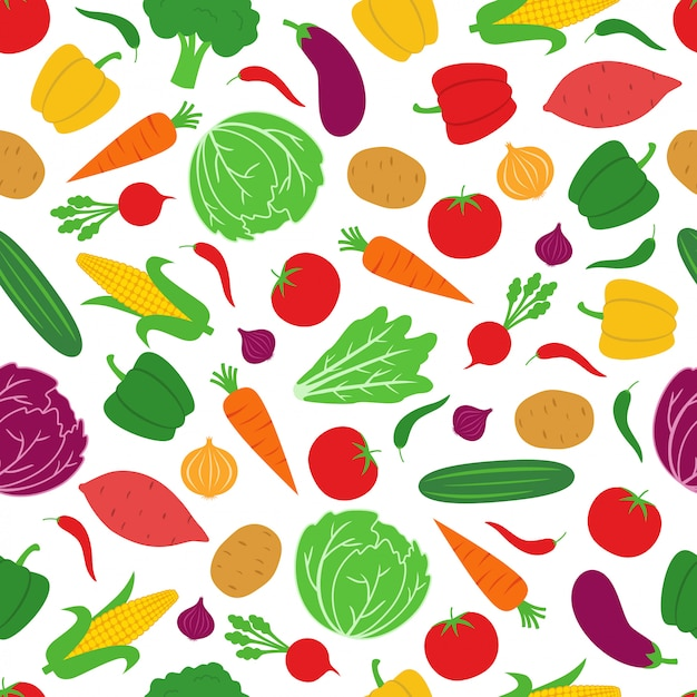 Vegetable seamless pattern background vector design Vetor Premium