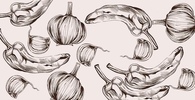 Vegetais de outono padrão arte de linha. colheita de pimenta e cebola Vetor Premium