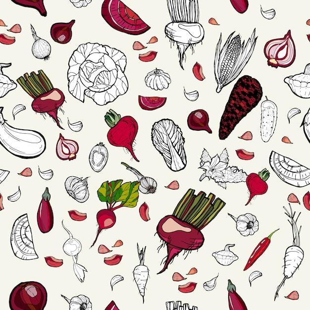 Vegetais de padrão de mão desenhada. Vetor Premium