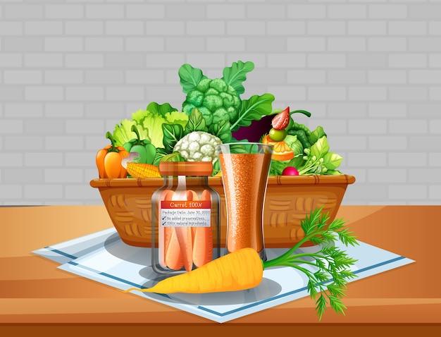 Vegetais e frutas em uma cesta sobre a mesa com fundo de parede de tijolos Vetor grátis