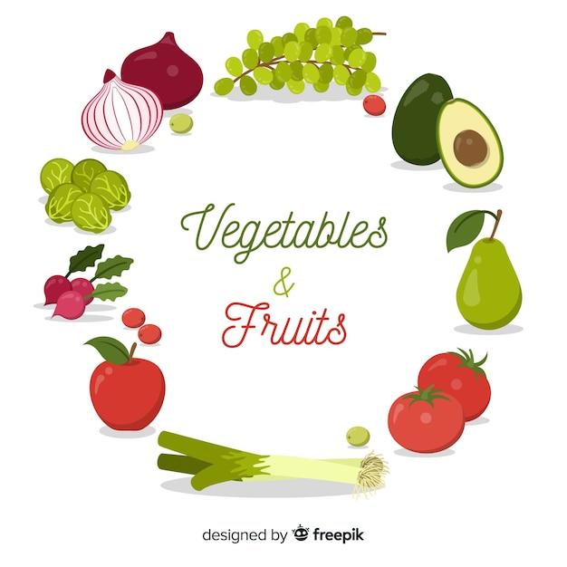 Vegetais e frutas Vetor grátis