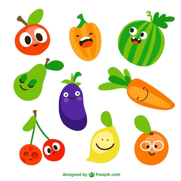 Vegetais engraçados Vetor grátis