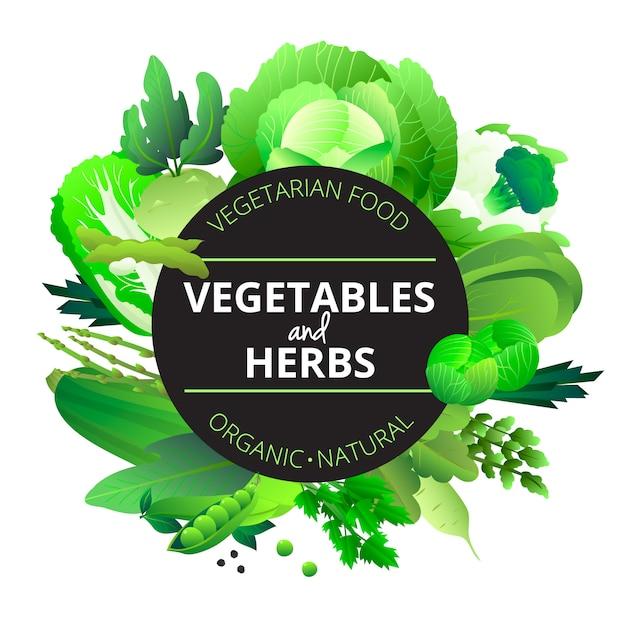 Vegetais orgânicos naturais e ervas arredondadas com couve courgette aipo e ervilha verde ilustração vetorial abstrato Vetor grátis