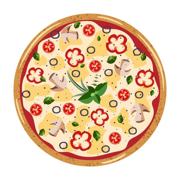 Vegetariana inteira pizza vista de cima Vetor Premium