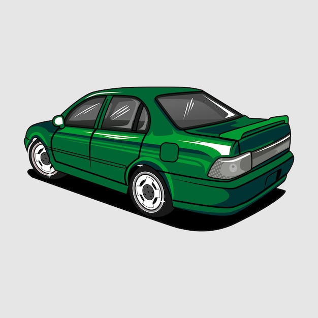 Veículo automotivo de carro verde Vetor Premium