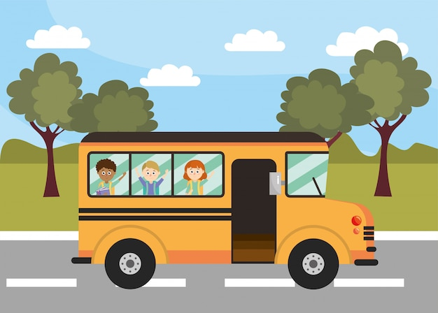 Veículo de educação de ônibus escolar com os alunos Vetor Premium