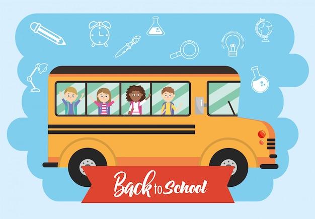 Veículo de ônibus escolar com transporte de estudantes Vetor Premium