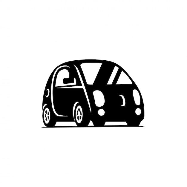 Veículo sem motorista dirigindo-se. ícone plana de vista lateral de carro Vetor Premium