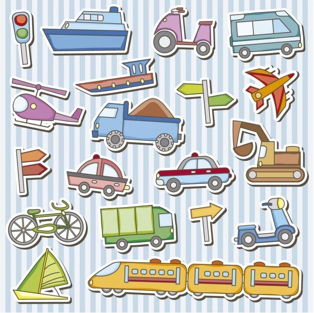 Veículos brinquedos adesivos Vetor grátis