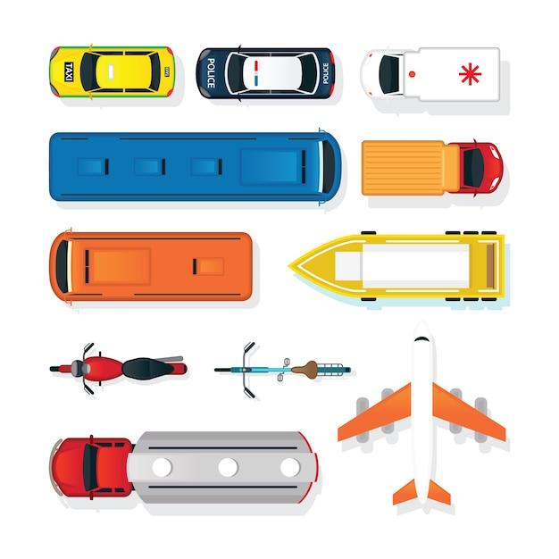 Veículos, carros e transporte na vista superior ou superior Vetor Premium
