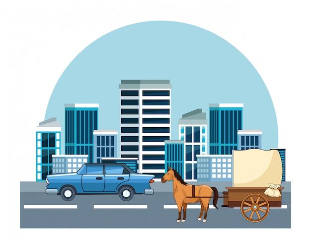 Veículos clássicos e carruagens Vetor Premium