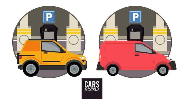 Veículos de maquete de mini van e trailer Vetor Premium