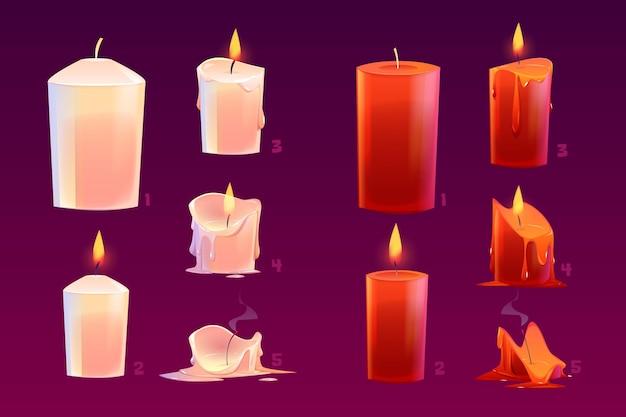 Velas de desenho animado queimando animação de sequência de movimento brilhante e luzes extintas com cera derretida. Vetor grátis