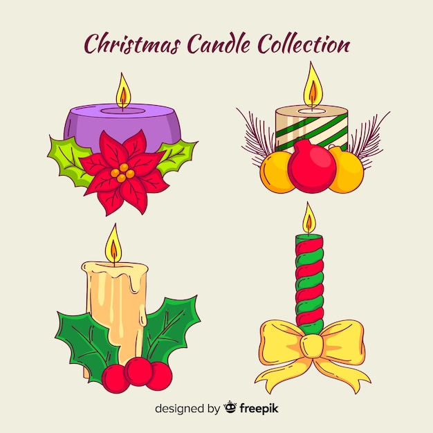 Velas de natal com coleção de ornamentos Vetor grátis