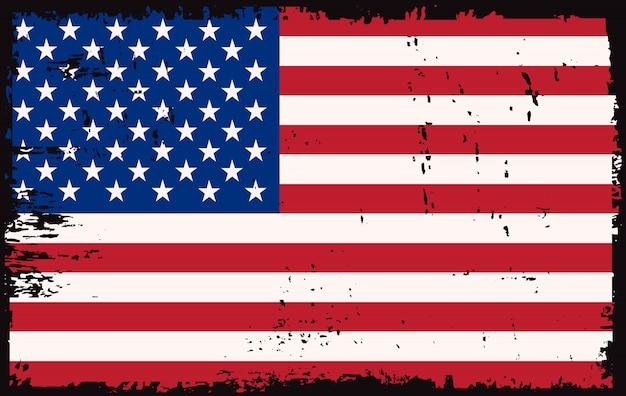 Velha bandeira americana Vetor Premium