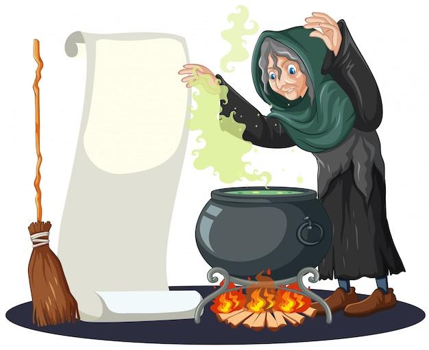 Velha bruxa com pote de magia negra e cabo de vassoura e papel em branco banner estilo cartoon isolado no fundo branco Vetor grátis