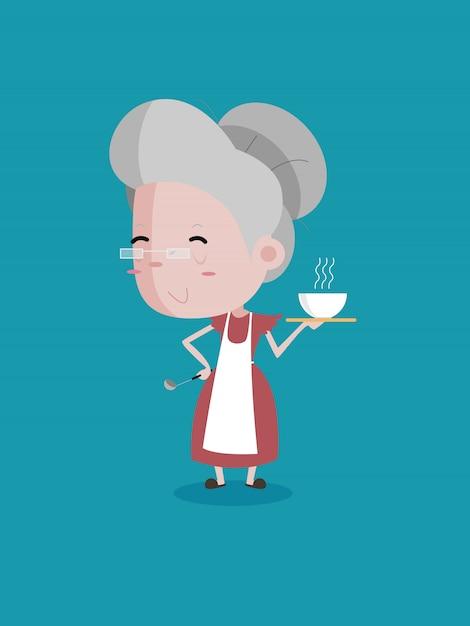 Velha mulher cozinhar segure o equipamento de cozinha e um copo Vetor Premium
