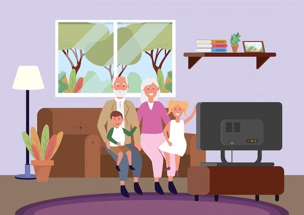 Velha mulher e homem com filhos no sofá Vetor grátis