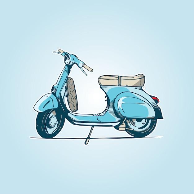 Velha scooter turquesa Vetor Premium