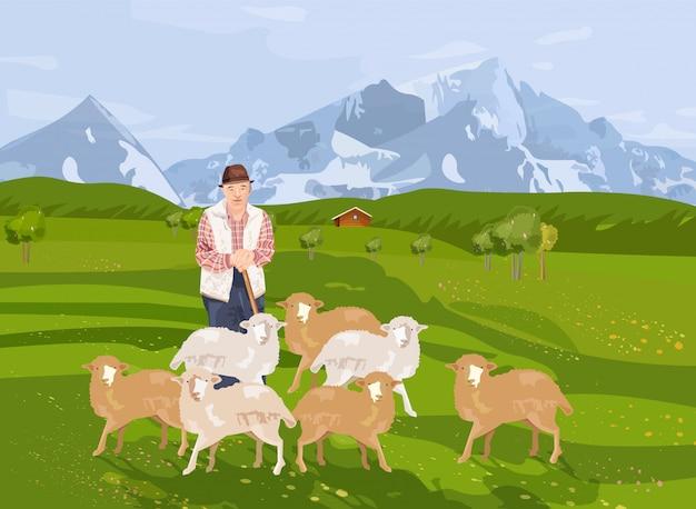 Velho agricultor ovelhas e paisagem de fundo com montanhas Vetor Premium