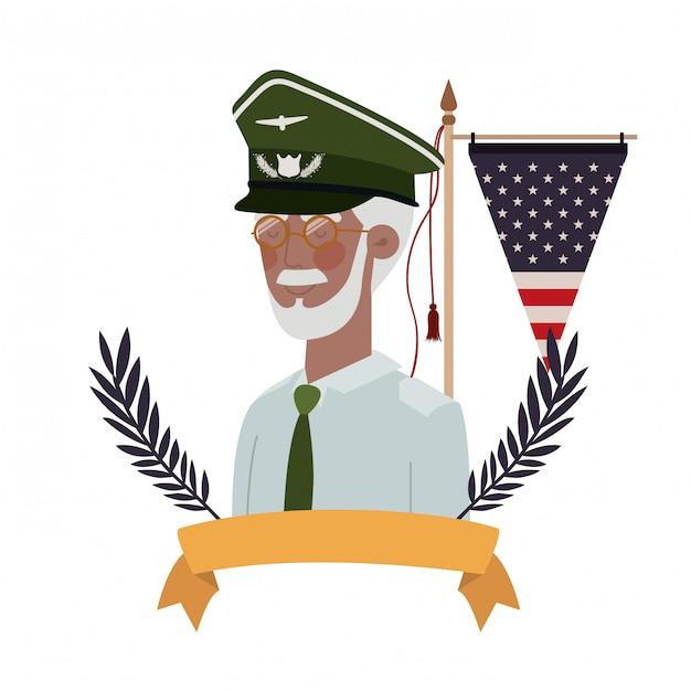 Velho de guerra veterano com bandeira dos estados unidos Vetor Premium