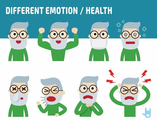 Velho enfrenta mostrando diferentes emoções. apartamento bonito dos desenhos animados design. Vetor Premium