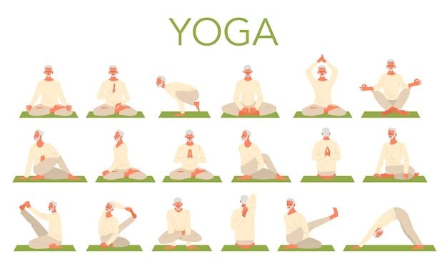 Velho fazendo conjunto de ioga. asana ou exercício para idosos. saúde física e mental. relaxamento corporal e meditação. treinamento de aposentados. Vetor Premium